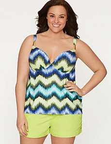 Bust Enhancer swim tank with built-in plunge bra