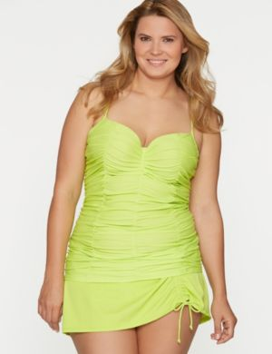 Ruched swim tank with built-in balconette bra