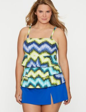 Ikat ruffled swim tank with built-in no wire bra