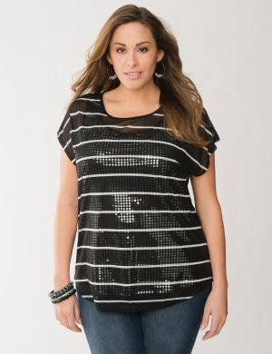 Sequin & stripes layered tee