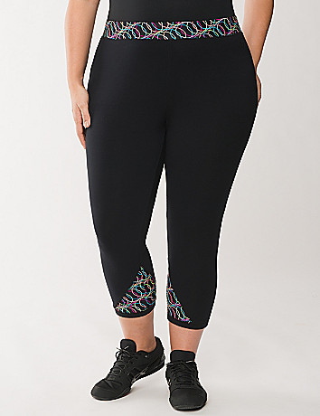 Yoga pant with techno printed waist