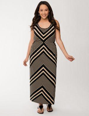 Placed chevron maxi dress