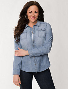 Crosshatch denim shirt by LANE BRYANT