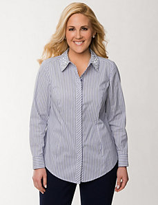 Classic collared shirt with embellishments