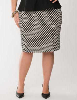 Tile print twill pencil skirt