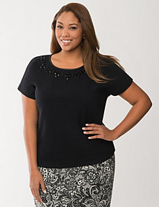 Embellished ponte tee by LANE BRYANT