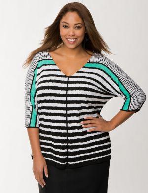 Mixed stripe dolman top