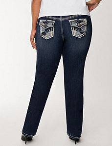 Patchwork slim boot jean