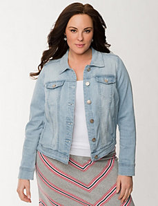 High low denim jacket by LANE BRYANT