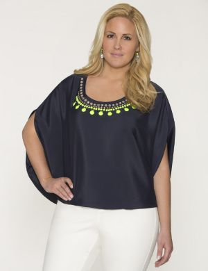 Neon embellished drama top