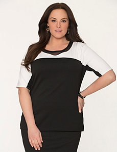 Colorblock ponte & mesh tee by LANE BRYANT