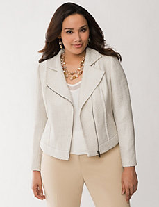 Foiled boucle moto jacket by LANE BRYANT
