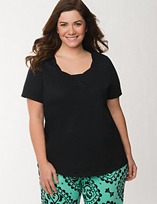 Sleep tee with twisted trim by LANE BRYANT
