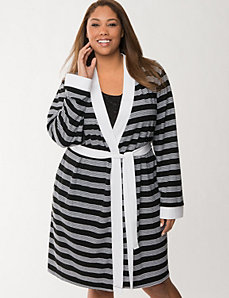 Striped terry robe by LANE BRYANT