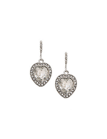 Cubic zirconium heart drop earrings by Lane Bryant