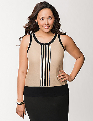 Vertical striped sweater shell