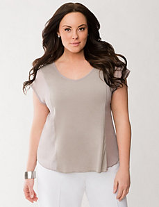 Lane Collection chiffon blocked tee