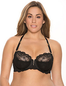 Lace racer back balconette bra