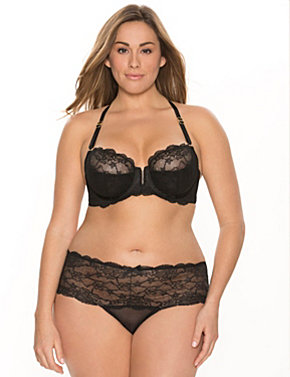 Lace racer adjustable back balconette bra ensemble