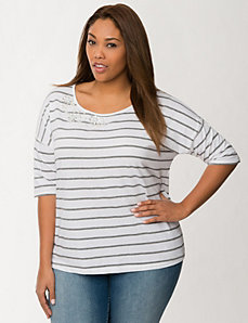 Embellished striped tee by LANE BRYANT