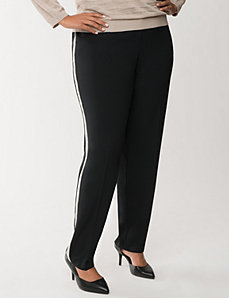 Crepe pant with tuxedo stripes