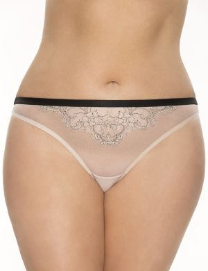 Embroidered mesh thong panty