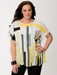 Lane Collection printed drama top