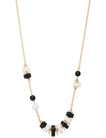 Black & White Bead Necklace by Lane Bryant