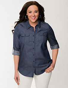 Pin dot denim shirt by LANE BRYANT