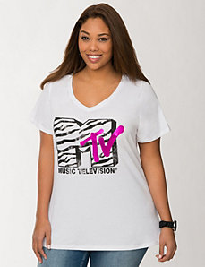 MTV zebra graphic tee
