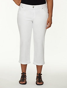 Genius Fit™ white denim capri by LANE BRYANT