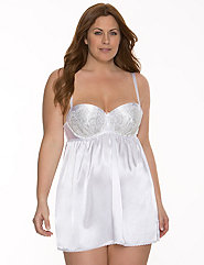 Bridal charmeuse & lace babydoll