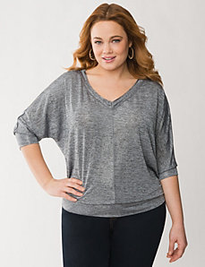 Zip-shoulder wedge tee by LANE BRYANT