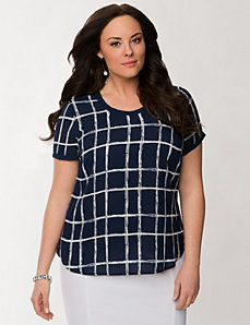 Patterned woven tee by LANE BRYANT