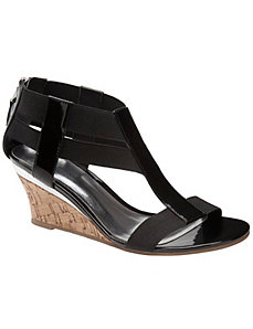 Patent wedge sandal by LANE BRYANT