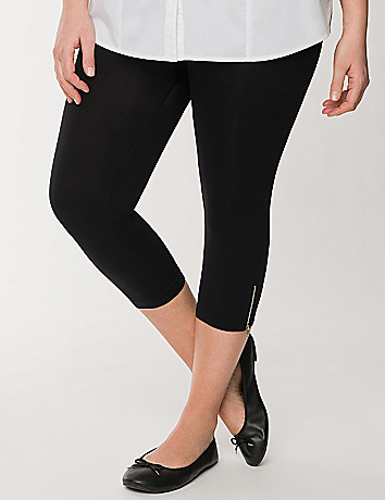 Full Figure Control Top Zip Ankle Capri by Lane Bryant