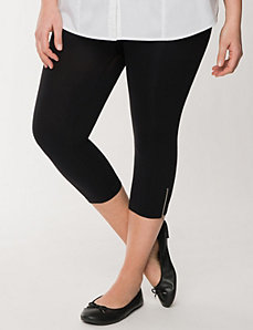 Control top capri legging with zipper by LANE BRYANT