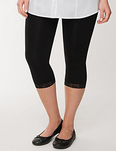 Control top capri legging tights with lace cuffs by LANE BRYANT