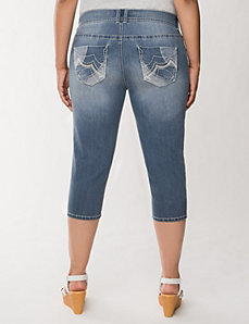 Pocket detail denim capri by LANE BRYANT