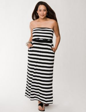 Striped maxi tube dress
