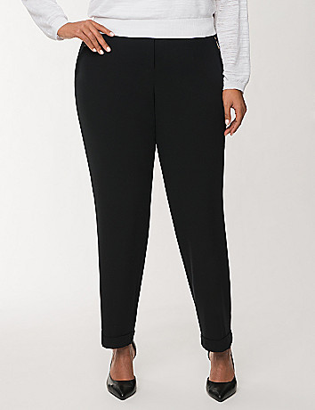 Cuffed crepe pant with zippers