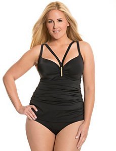Strappy swim tank with built-in balconette bra by LANE BRYANT