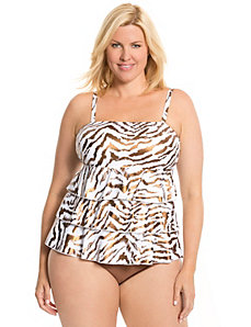 Foiled zebra swim tank with built-in no wire bra