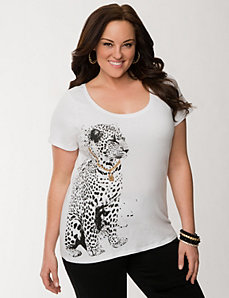 Embellished cheetah tee