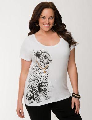 Embellished cheetah tee
