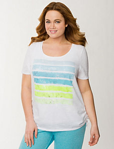 Foiled stripes side tie tee by LANE BRYANT
