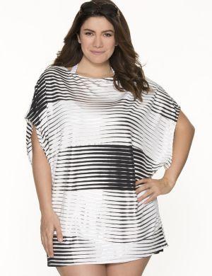 Metallic stripe tunic swim cover-up