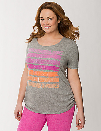 Foiled stripes side tie tee