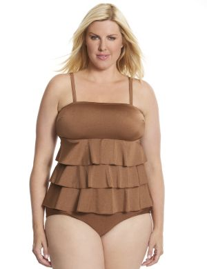 Tiered ruffle swim tank with built-in no wire bra