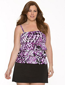 Tummy Concealing tiered ruffle tankini top by LANE BRYANT
